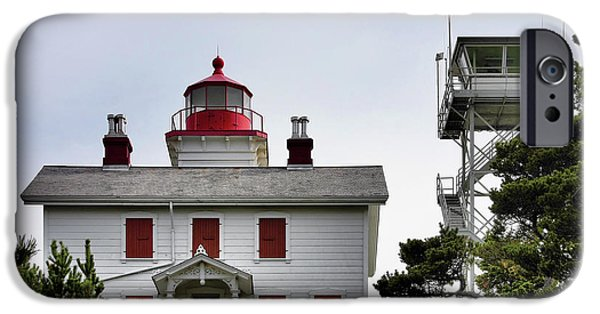 Heads iPhone Cases - Oregons Seacoast Lighthouses - Yaquina Bay Lighthouse - Old and New iPhone Case by Christine Till