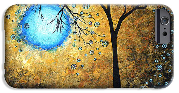 Whimsy Paintings iPhone Cases - Orginal Abstract Landscape Painting BLUE FIRE by MADART iPhone Case by Megan Duncanson