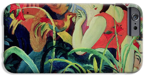 Figures iPhone Cases - Oriental Women iPhone Case by August Macke