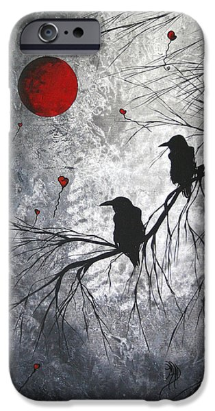 Whimsy Paintings iPhone Cases - Original Abstract Surreal Raven Red Blood Moon Painting The Overseers by MADART iPhone Case by Megan Duncanson