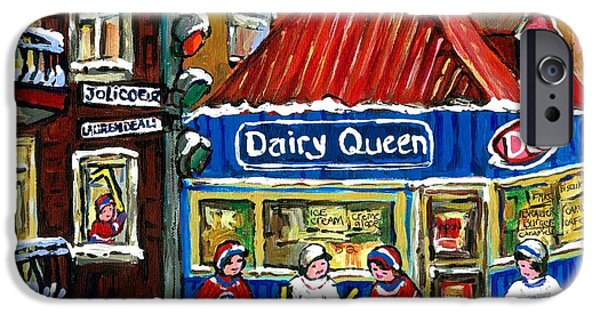 Hockey Paintings iPhone Cases - Original Canadian Hockey Art Paintings For Sale Snowfall At Dairy Queen Ville Emard Montreal Winter  iPhone Case by Carole Spandau