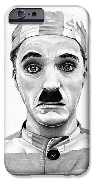 Chaplin iPhone Cases - Original Charlie Chaplin Adventurer iPhone Case by Fred Larucci