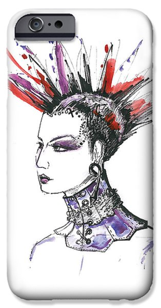 Original Watercolor iPhone Cases - Original fashion watercolor illustration iPhone Case by Marian Voicu