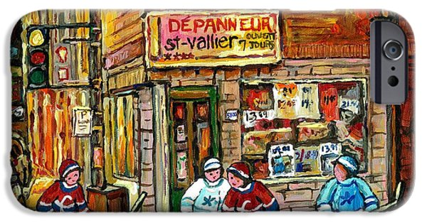 Hockey Paintings iPhone Cases - Original Hockey Art Painting For Sale Depanneur St Vallier Blvd Rosemont Quebec Snow Scene Canadian  iPhone Case by Carole Spandau