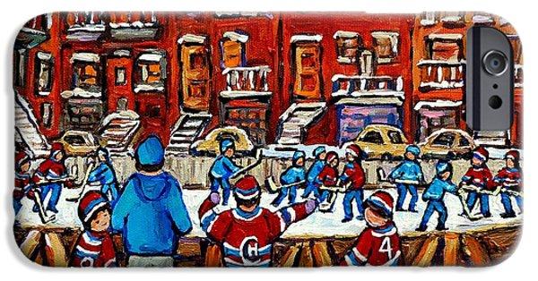 Hockey Paintings iPhone Cases - Original Hockey Art Paintings For Sale The Neighborhood Hockey Rink Canadian Winter Scenes iPhone Case by Carole Spandau