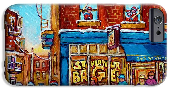 Snowy Day iPhone Cases - Original Hockey Art St Viateur Bagel Paintings For Sale Street Hockey In The Laneway Canadian Winter iPhone Case by Carole Spandau