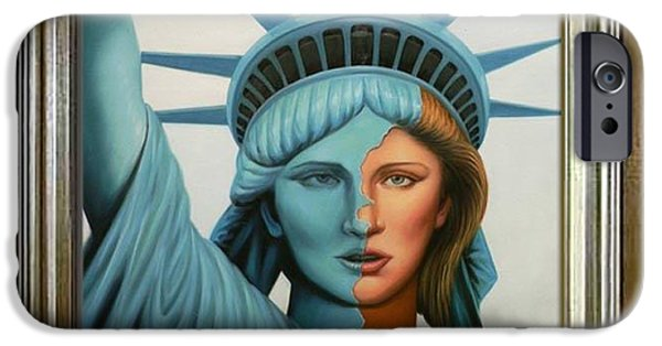 Statue Portrait Drawings iPhone Cases - Original oil painting Statue of Liberty on canvas iPhone Case by Hongtao     Huang