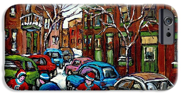 Hockey Paintings iPhone Cases - Original Street Hockey Art For Sale Rue Grand Trunk Pointe St Charles Montreal Winter Scenes iPhone Case by Carole Spandau