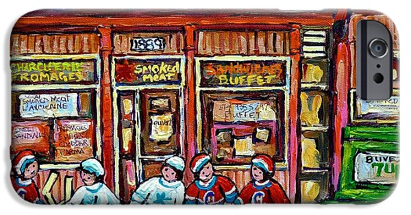 Hockey Paintings iPhone Cases - Original Street Hockey Art Paintings For Sale Les Produits Du Quebec Smoked Meat Pointe St Charles  iPhone Case by Carole Spandau