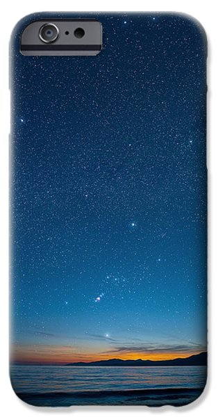 Constellations iPhone Cases - Orion Over The Georgia Strait, Canada iPhone Case by David Nunuk