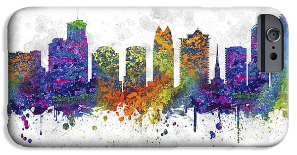 Down Town iPhone Cases - Orlando Florida Skyline Color 03SQ iPhone Case by Aged Pixel
