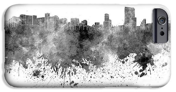 United iPhone Cases - Orlando skyline in black watercolor on white background iPhone Case by Pablo Romero