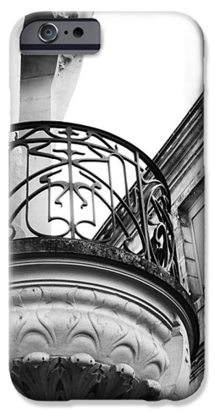 Old And New iPhone Cases - Ornate French Balcony in Mono iPhone Case by Georgia Fowler