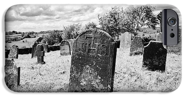 Headstones iPhone Cases - Ornate18th Century Headstones In Tydavnet Old Cemetery County Monaghan Republic Of Ireland iPhone Case by Joe Fox