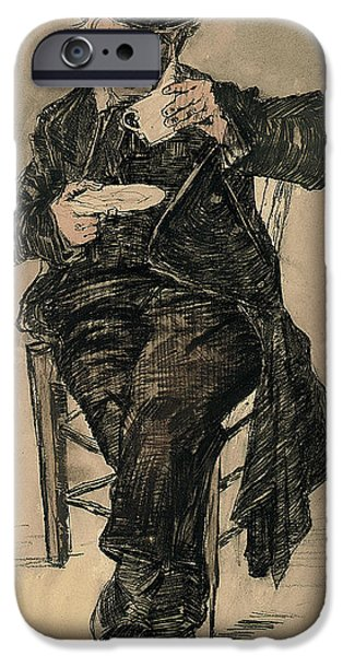 Food And Beverage Pastels iPhone Cases - Orphan Man with a Top Hat Drinking a Cup of Coffee iPhone Case by Vincent Van Gogh