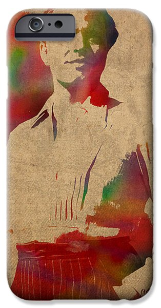Citizens iPhone Cases - Orson Welles Citizen Kane Movie Star Actor Watercolor Portrait on Worn Distressed Canvas iPhone Case by Design Turnpike