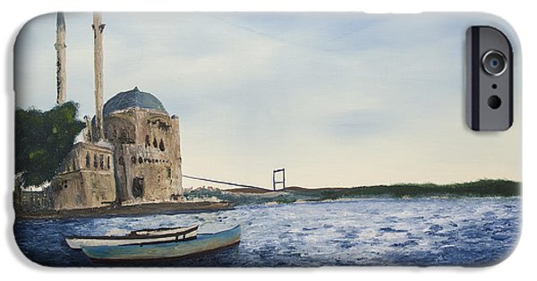 Bob Ross Paintings iPhone Cases - Ortakoy Mosque iPhone Case by Rafay Zafer