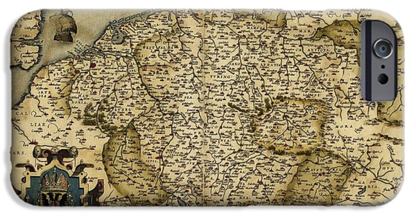 Map Of Germany iPhone Cases - Orteliuss Map Of Germany, 1570 iPhone Case by Library Of Congress, Geography And Map Division