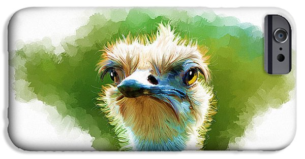 Time2paint iPhone Cases - Ostrich Portrait iPhone Case by Michael Greenaway