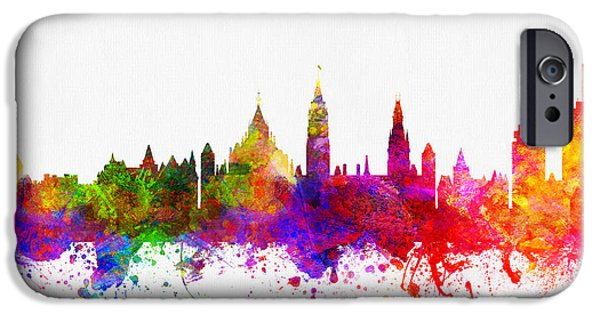 Ottawa iPhone Cases - Ottawa Ontario skyline Color02 iPhone Case by Aged Pixel