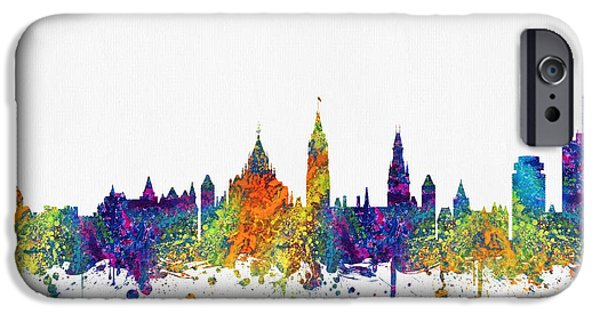 Ottawa iPhone Cases - Ottawa Ontario skyline Color03 iPhone Case by Aged Pixel
