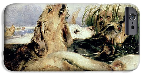 Working Dogs iPhone Cases - Otter Hounds iPhone Case by Sir Edwin Landseer