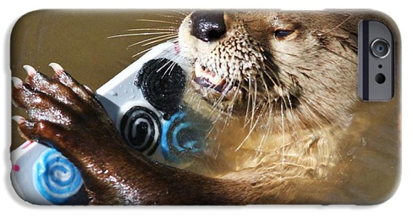Otter Digital Art iPhone Cases - Otter Making A Call iPhone Case by Paulette Thomas