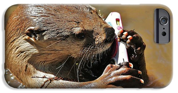 Otter Digital Art iPhone Cases - Otter Phone Home iPhone Case by Paulette Thomas