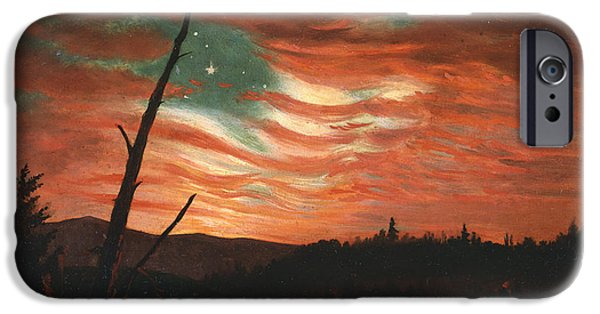 Reflection Paintings iPhone Cases - Our Banner in the Sky iPhone Case by Frederic Edwin Church
