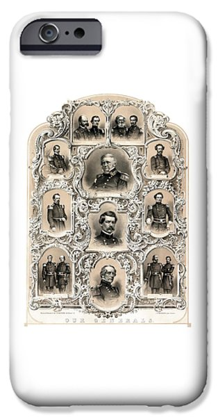 War Drawings iPhone Cases - Our Generals -- Union Civil War iPhone Case by War Is Hell Store