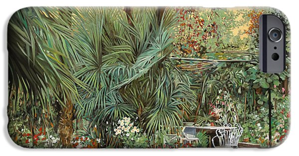 Palm Tree iPhone Cases - Our Little Garden iPhone Case by Guido Borelli