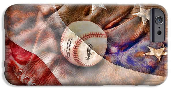 American Flag iPhone Cases - Our National Pastime iPhone Case by John Freidenberg