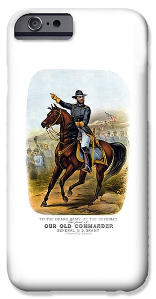 War Drawings iPhone Cases - Our Old Commander - General Grant iPhone Case by War Is Hell Store