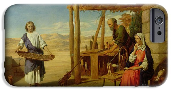 Young Boy iPhone Cases - Our Saviour Subject to his Parents at Nazareth iPhone Case by John Rogers Herbert
