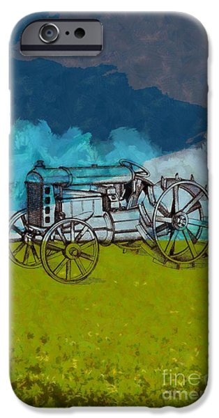 John Deere Tractor iPhone Cases - Out in the field iPhone Case by Edward Fielding