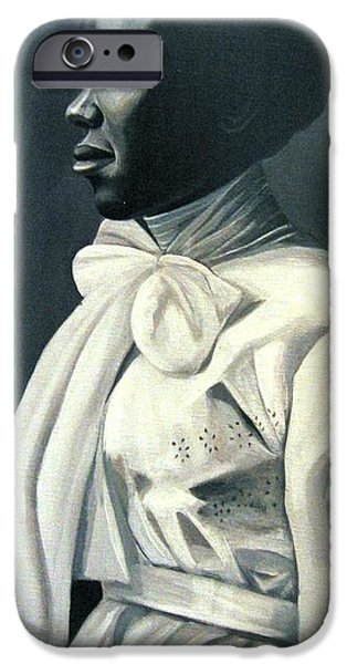 Black And White Reliefs iPhone Cases - Out of the Box Woman in Large White Bow  iPhone Case by Joyce Owens