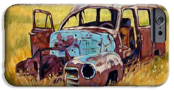 Old Barn Paintings iPhone Cases - Out to Pasture iPhone Case by John Lautermilch