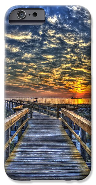 Tybee Island Pier iPhone Cases - Out To Sea Tybee Island Georgia iPhone Case by Reid Callaway