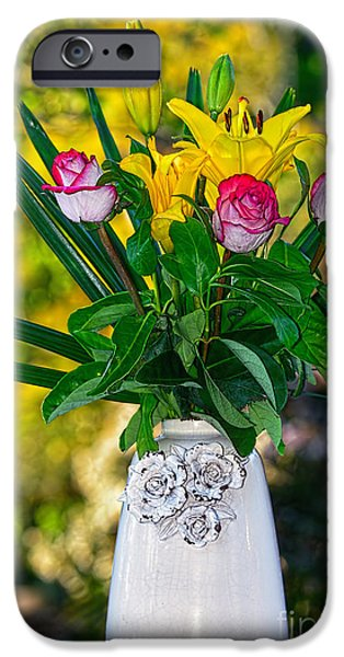 Asiatic Lily iPhone Cases - Outdoor Bouquet on Golden Bokeh by Kaye Menner iPhone Case by Kaye Menner