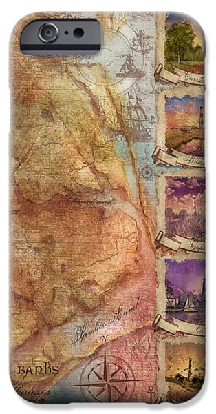 Cape Lookout iPhone Cases - Outer Banks Lighthouse Map 3 iPhone Case by MB Art factory