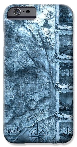 Cape Lookout iPhone Cases - Outer Banks Lightouse Map 2 iPhone Case by MB Art factory