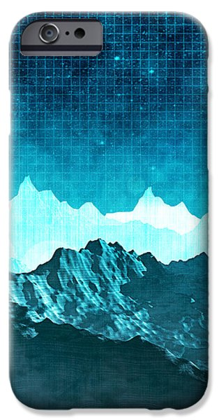 Graphic Design iPhone Cases - Outer Space Mountains iPhone Case by Phil Perkins