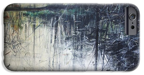 Reflecting Water Paintings iPhone Cases - Outflow  Mellerstain iPhone Case by Calum McClure