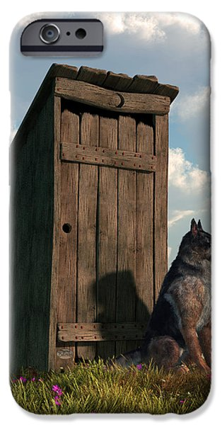 Dogs Digital Art iPhone Cases - Outhouse Guardian - German Shepherd Version iPhone Case by Daniel Eskridge
