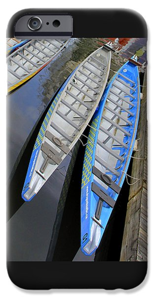 Town iPhone Cases - Outrigger Canoe Boats iPhone Case by Ben and Raisa Gertsberg