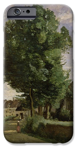 1796 iPhone Cases - Outskirts of a village near Beauvais iPhone Case by Jean Baptiste Camille  Corot