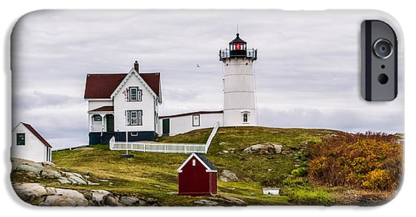 Cape Neddick Lighthouse iPhone Cases - Overcast at Nubble Light iPhone Case by Michael  Goodin