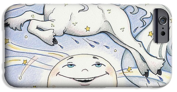 Childrens Books iPhone Cases - Over The Moon Waterhorse iPhone Case by Amy S Turner