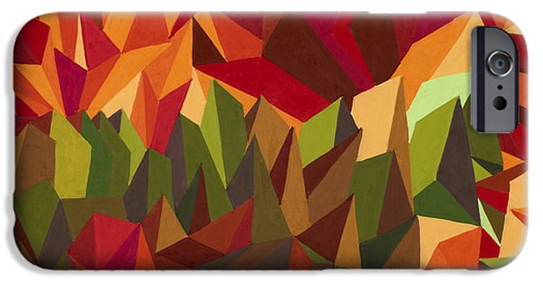 Modern Abstract iPhone Cases - Over the Sunset Mountains iPhone Case by Sean Corcoran