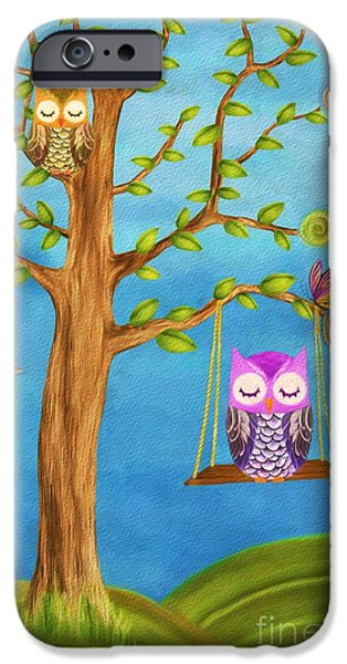 Baby Bird Mixed Media iPhone Cases - Owl and Dreams iPhone Case by AnaCB Studio